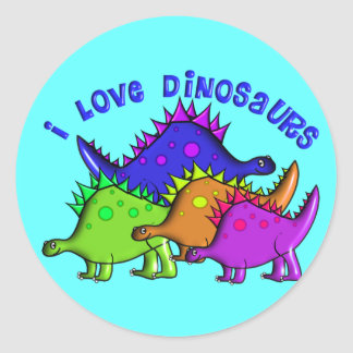 "Kids ""I LOVE DINOSAURS"" T-Shirts and Gifts Round Sticker"