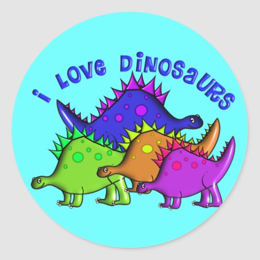 """Kids """"I LOVE DINOSAURS"""" T-Shirts and Gifts Round Stickers"""