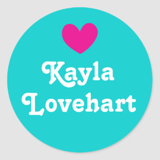 Kids id named heart pink aqua white girls sticker