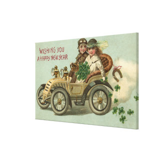 Kids in a Car with Shamrocks Stretched Canvas Prints