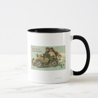 Kids in a Car with Shamrocks Mug