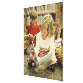 Kids in a library canvas prints