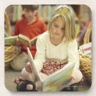 Kids in a library coaster
