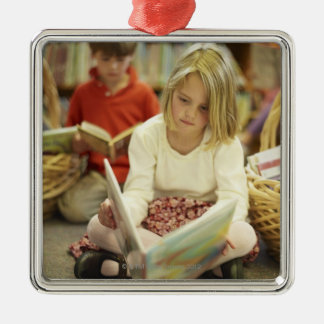 Kids in a library ornament