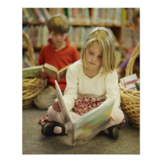 Kids in a library poster