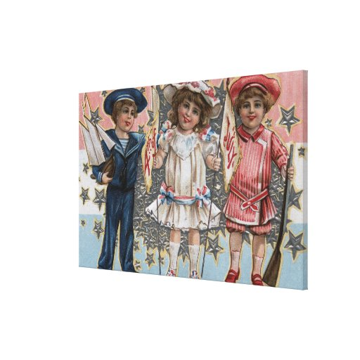 Kids in Blue, White and Pink Stretched Canvas Print