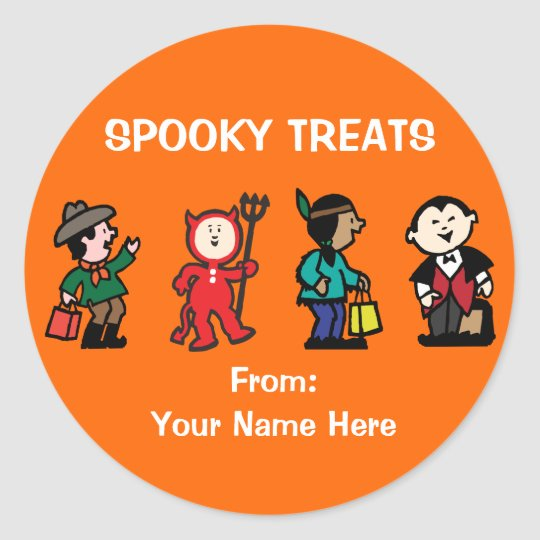 Kid's in Halloween Costume Classic Round Sticker