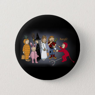 Kids in Halloween costumes. 6 Cm Round Badge