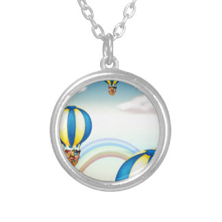 kids in hot air balloon round pendant necklace