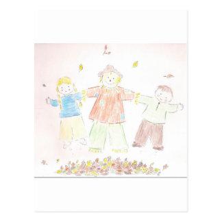 kids in leaves postcard