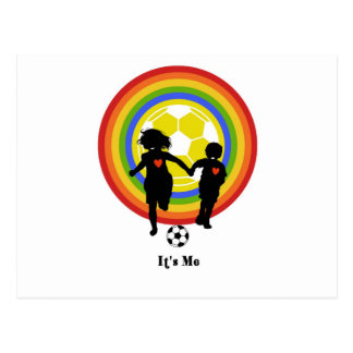 Kids it s me soccer fans and player post card