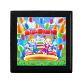 Kids Jumping on Bouncy Castle Small Square Gift Box
