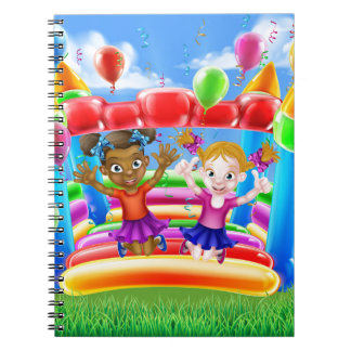 Kids Jumping on Bouncy Castle Spiral Note Book
