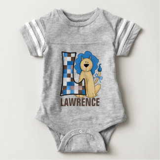 "Kids ""L"" Monogram | Blue Patchwork Lion Tees"