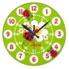 Kids ladybug & flower cute green girls wall clock