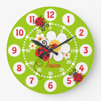 Kids ladybug & flower cute green girls wall clock