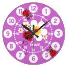 Kids ladybug & flower cute purple girls wall clock