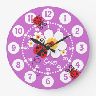 Kids ladybug & flower cute purple girls wall clock