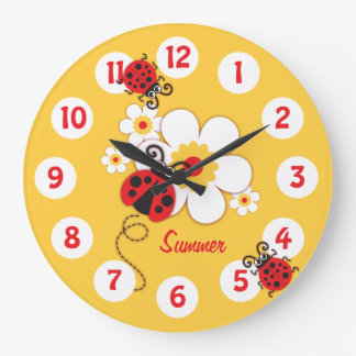 Kids ladybug & flower cute yellow girls wall clock