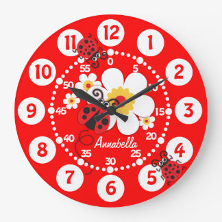 Kids ladybug & flowers bright red wall clock
