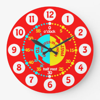Kids learn to tell time bright red wall clock