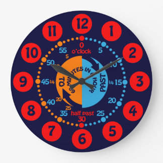 Kids learn to tell time navy blue wall clock