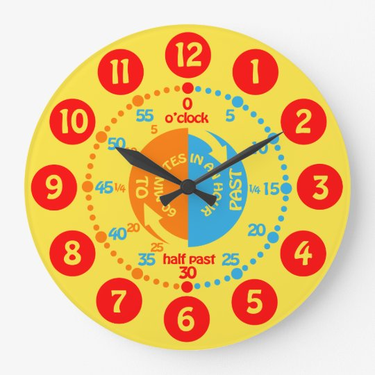 Kids learn to tell time yellow red blue