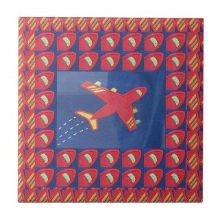 Kids Love Aeroplane Aircraft Flight Travel Holiday Small Square Tile