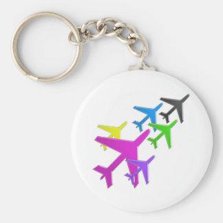 KIDS LOVE Aeroplane avion vol voyageurs GIFTS FUN Basic Round Button Key Ring