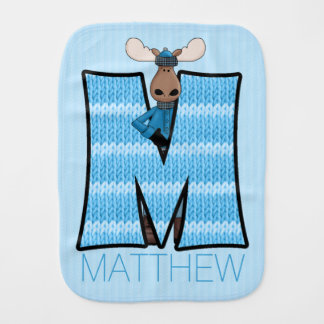 "Kids ""M"" Monogrammed | Blue Knit Moose Burp Cloth"