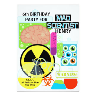 Kids Mad Scientist Science Lab Birthday Invitation