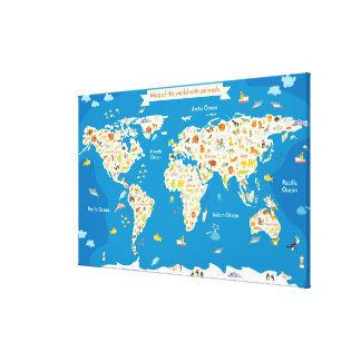 Kids Map of the World With Animals Canvas Print