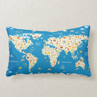 Kids Map of the World With Animals Lumbar Cushion