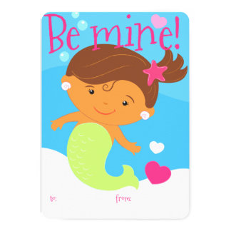 Kid's mermaid Valentine card 13 Cm X 18 Cm Invitation Card