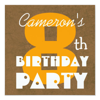 "Kid's Modern Birthday Chocolate and Gold Grunge 5.25"" Square Invitation Card"
