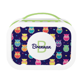 Kids Monogrammed Midnight Owl Pattern Colorful Lunch Box