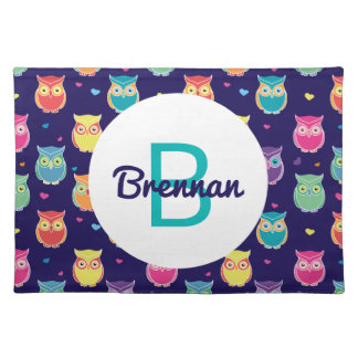 Kids Monogrammed Midnight Owl Pattern Colorful Placemat