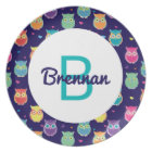 Kids Monogrammed Midnight Owl Pattern Colourful Plate