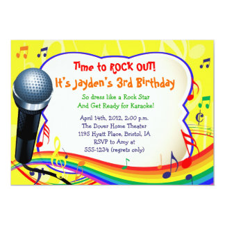 Kids Music / Singing / Karaoke Colorful Invitation
