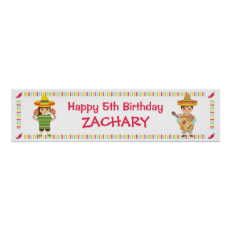 Kids Musical Mexican Fiesta Birthday Party Banner Poster