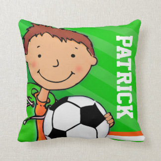 Kids name boy football soccer green pillow cushion