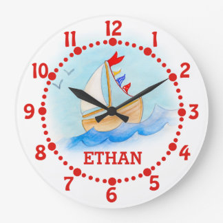 Kids name sailing boat art blue white wall clock