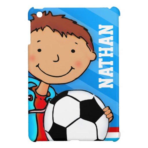 Kids name soccer / football boy blue ipad mini iPad mini covers