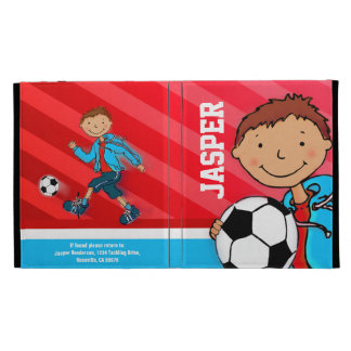 Kids name soccer football boy red ipad folio case