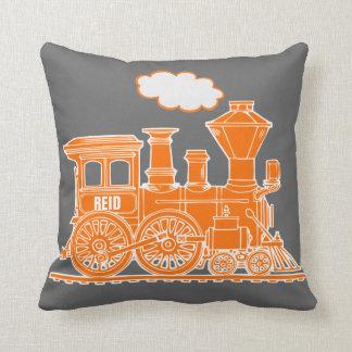 Kids name steam train orange grey throw pillow throw cushion