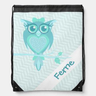 Kids name teal chevron owl drawstring bag
