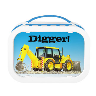 Kid's Name Yellow Backhoe Digger Construction Lunchboxes