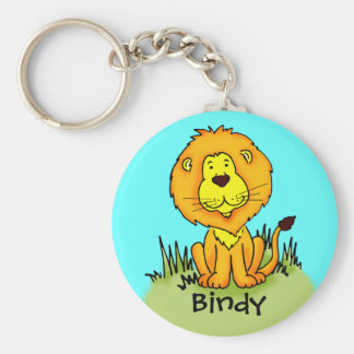 Kids named lion keychain aqua sky