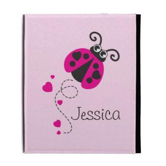 Kids named pink ladybug ladybird ipad folio case
