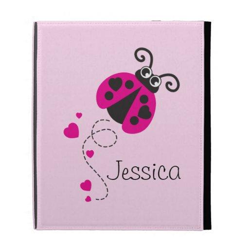 Kids named pink ladybug /ladybird ipad folio case